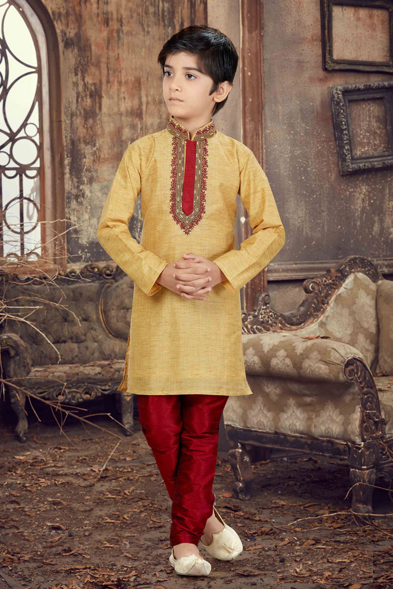 Beige Wedding Wear Banglori Silk Boys Kurta Pyjama