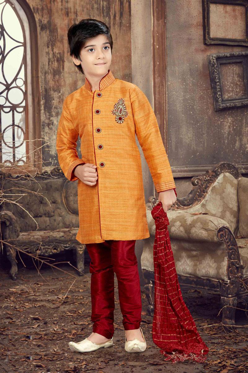 Wedding Function Wear Banglori Silk Orange Boys Kurta Pyjama