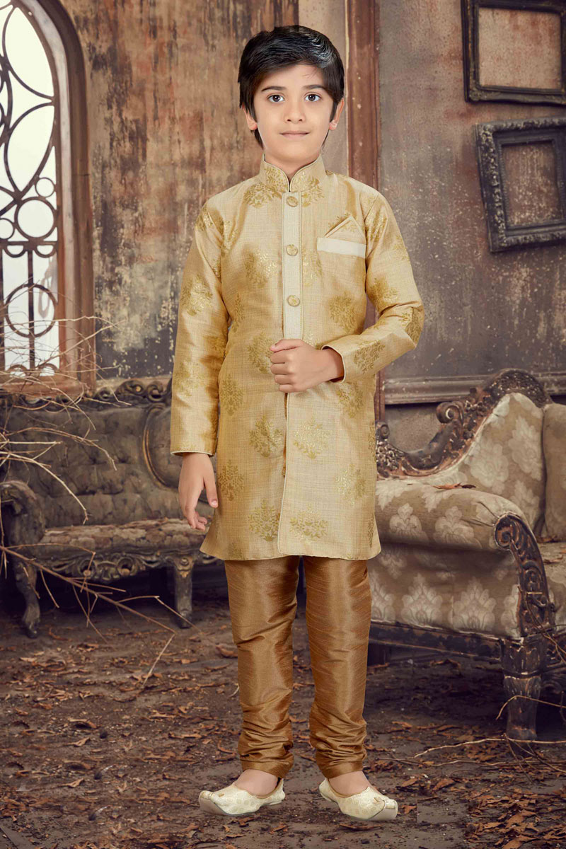 Function Wear Art Silk Boys Kurta Pyjama In Cream