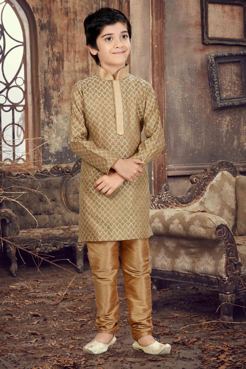 Jacquard Fabric Function Wear Boys Kurta Pyjama In Cream Color