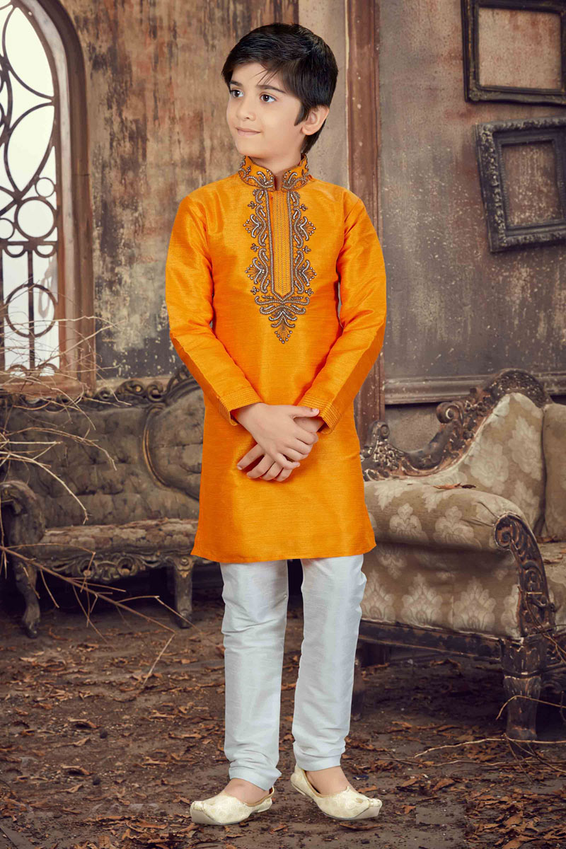 Wedding Function Wear Banglori Silk Boys Kurta Pyjama