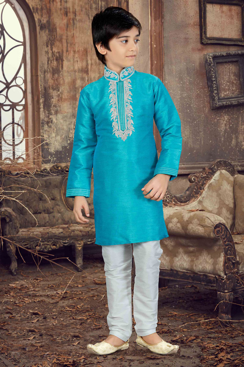 Fancy Banglori Silk Festive Wear Boys Kurta Pyjama