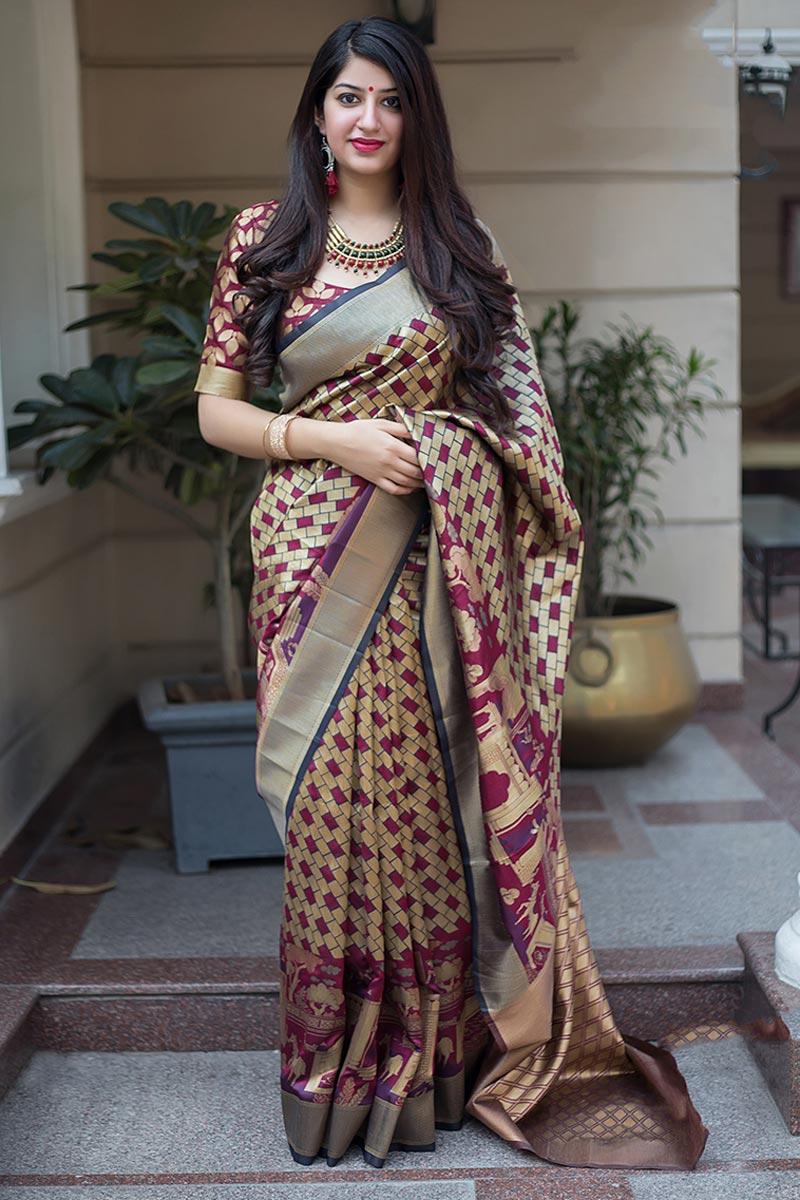 Patola Style Cream Banarasi Silk Fabric Designer Saree With Weaving Designs
