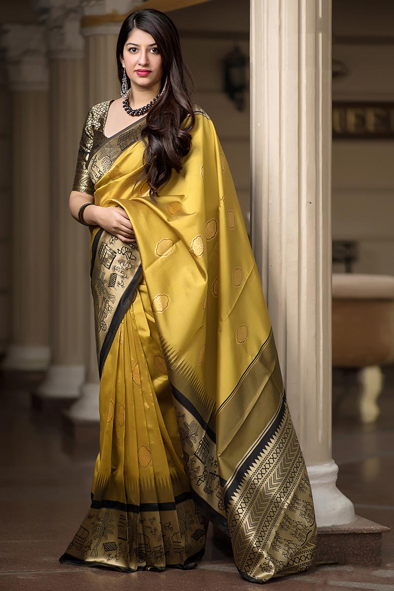 Eid Special Weaving Work On Yellow Patola Style Function Wear Banarasi Silk Fabric Saree