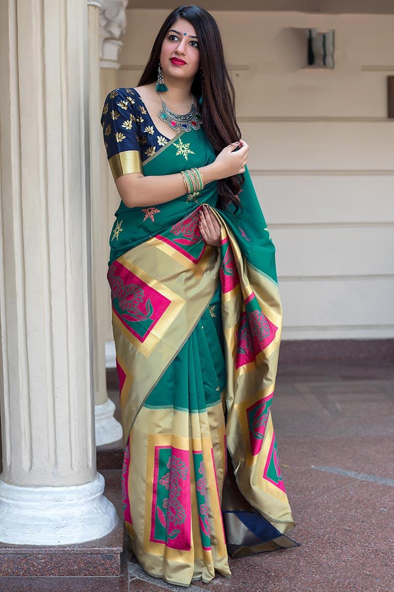 Patola Style Banarasi Silk Fabric Festive Wear Weaving Work Saree In Teal