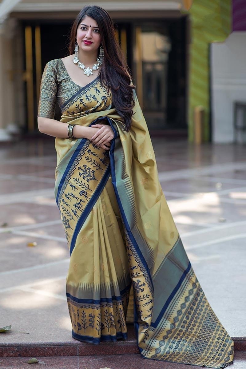 Patola Style Beige Banarasi Silk Fabric Designer Saree With Weaving Designs