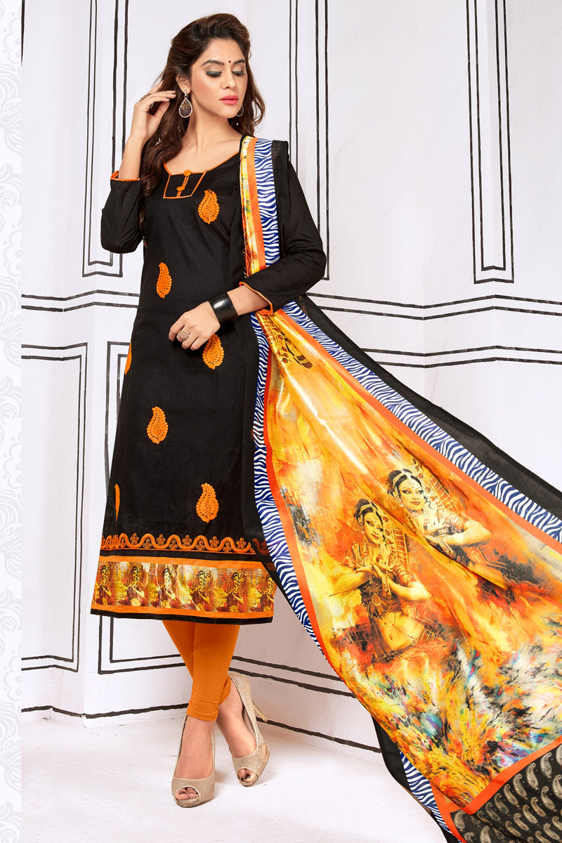 Black Embroidered Regular Wear Cotton Fabric Straight Cut Salwar Suit With Printed Dupatta