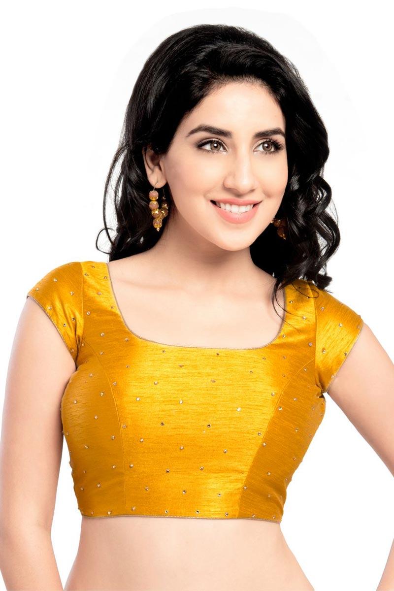 Trendy Mustard Color Dupion Silk Fabric Readymade Plain Blouse
