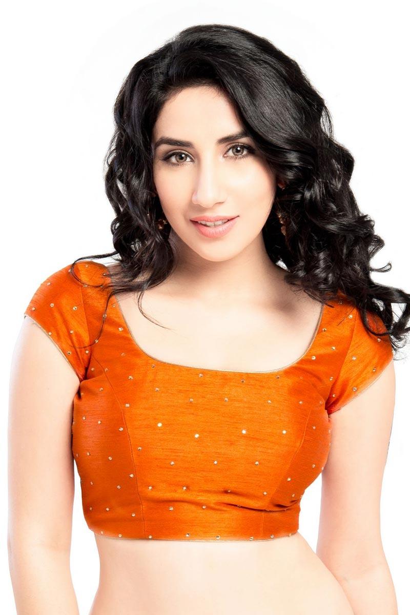 Dupion Silk Fabric Trendy Orange Color Readymade Plain Blouse