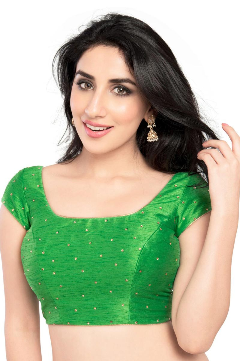 Gorgeous Green Color Dupion Silk Fabric Readymade Plain Blouse