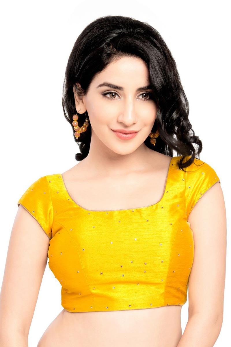 Designer Yellow Color Readymade Plain Blouse In Dupion Silk Fabric