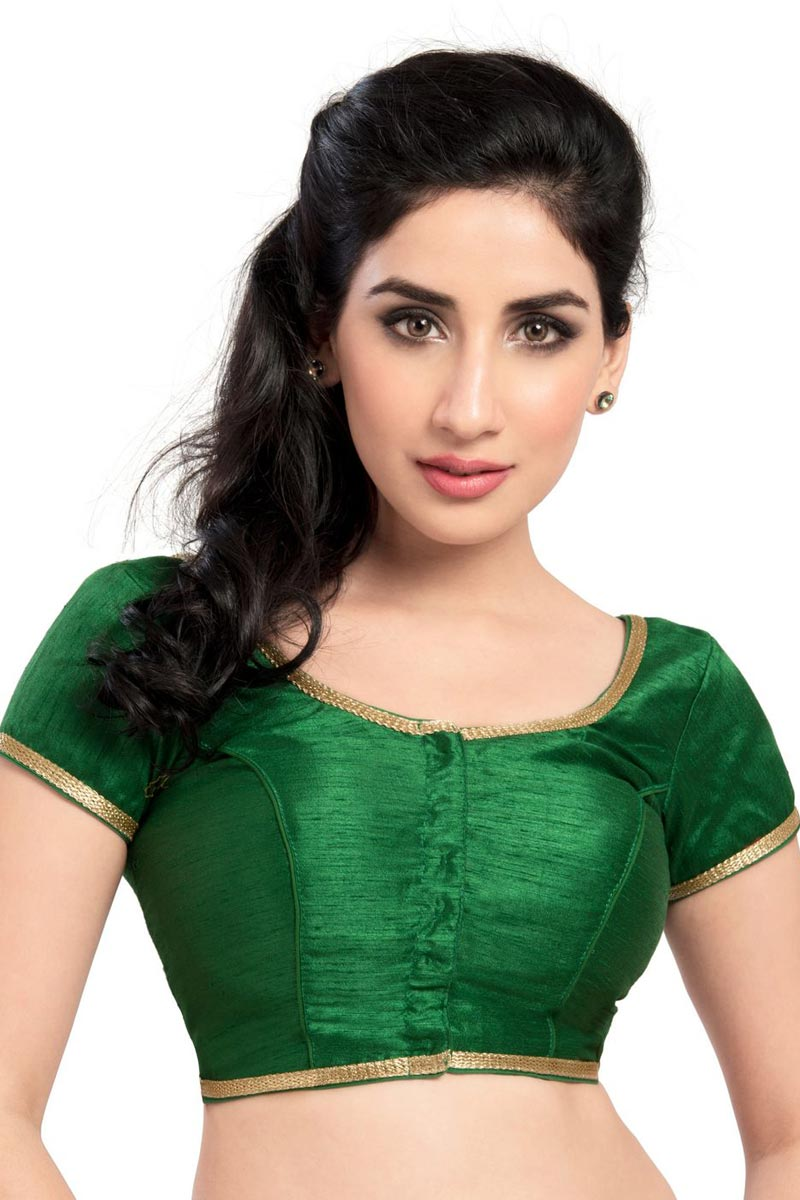 Green Color Designer Brocade Fabric Plain Readymade Blouse