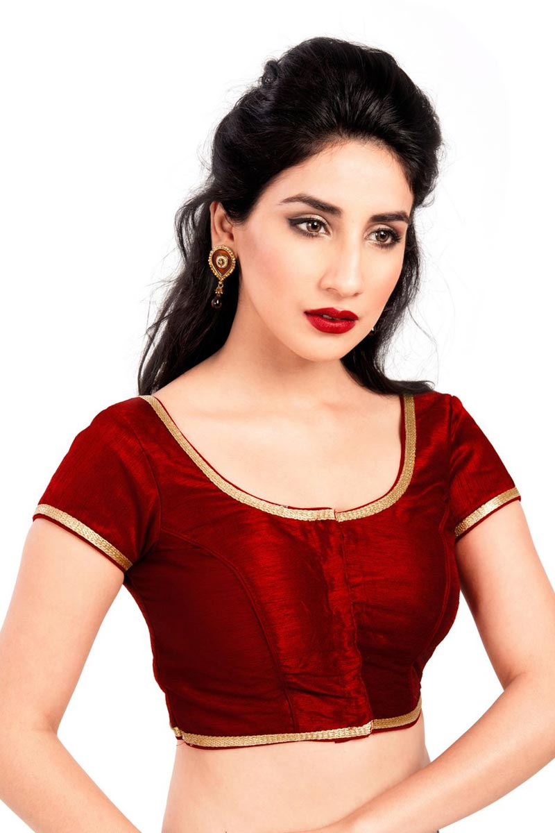 Designer Maroon Color Plain Readymade Blouse In Brocade Fabric