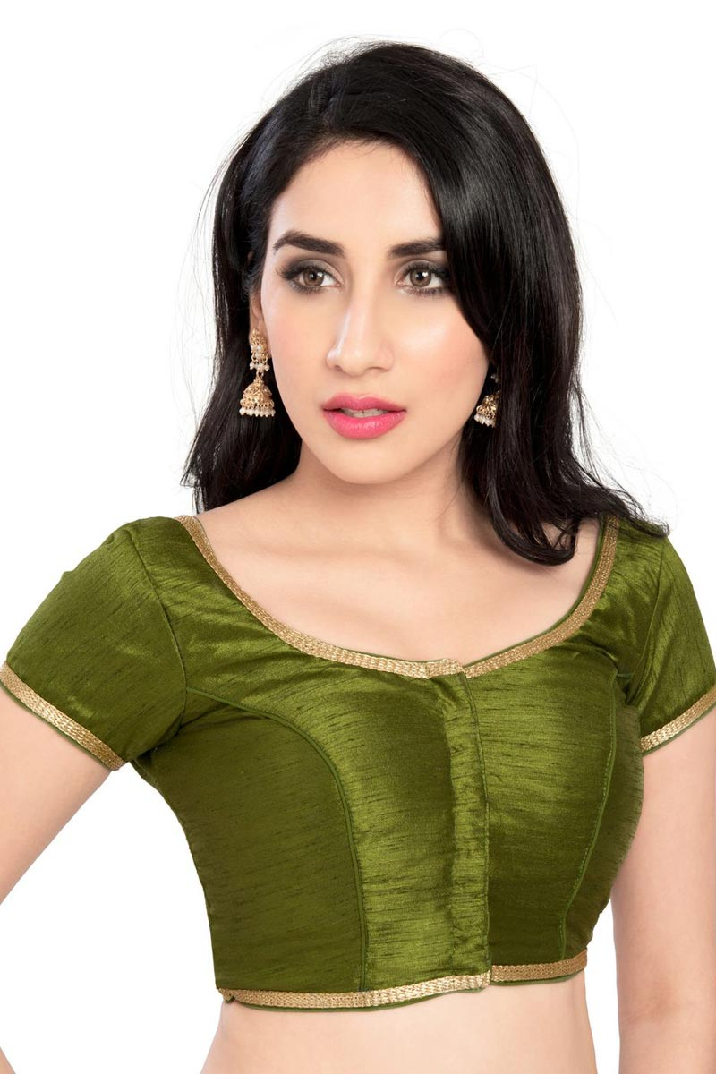 Brocade Fabric Trendy Mehendi Green Color Plain Readymade Blouse