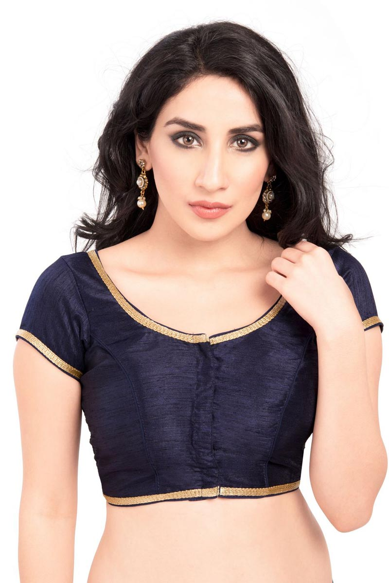 Navy Blue Color Gorgeous Brocade Fabric Plain Readymade Blouse