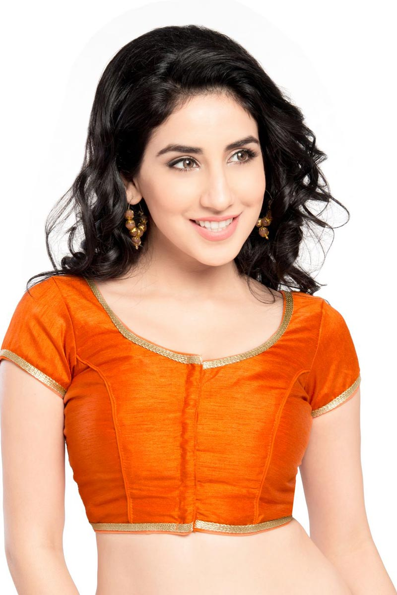 Orange Color Trendy Brocade Fabric Plain Readymade Blouse