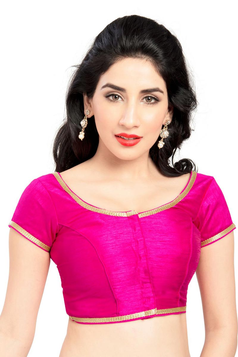 Gorgeous Pink Color Brocade Fabric Stylish Plain Readymade Blouse