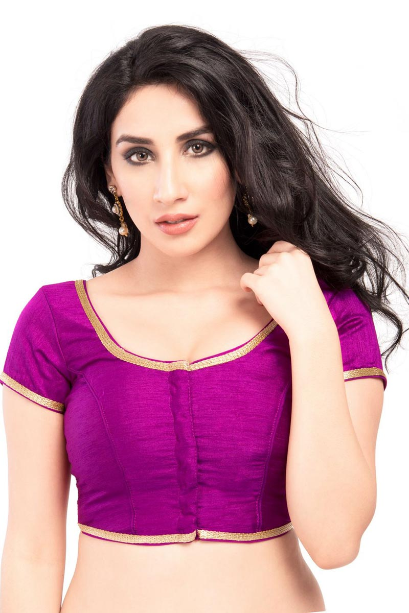 Purple Gorgeous Brocade Fabric Stylish Plain Readymade Blouse