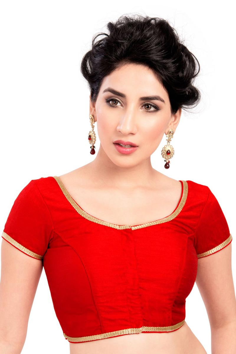 Brocade Fabric Designer Red Plain Readymade Blouse