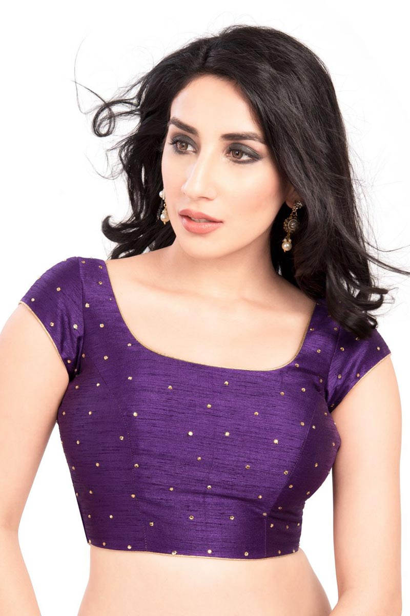 Purple Color Readymade Plain Blouse In Dupion Silk Fabric