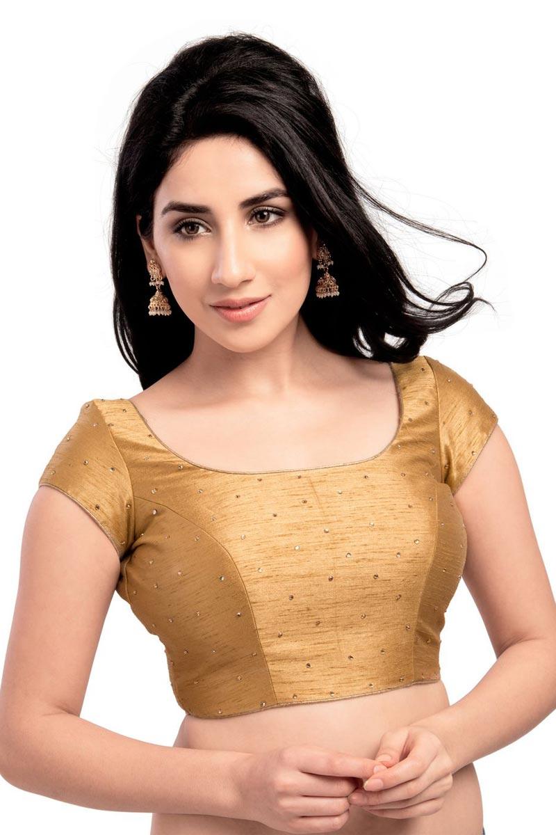 Golden Color Dupion Silk Fabric Designer Plain Readymade Blouse