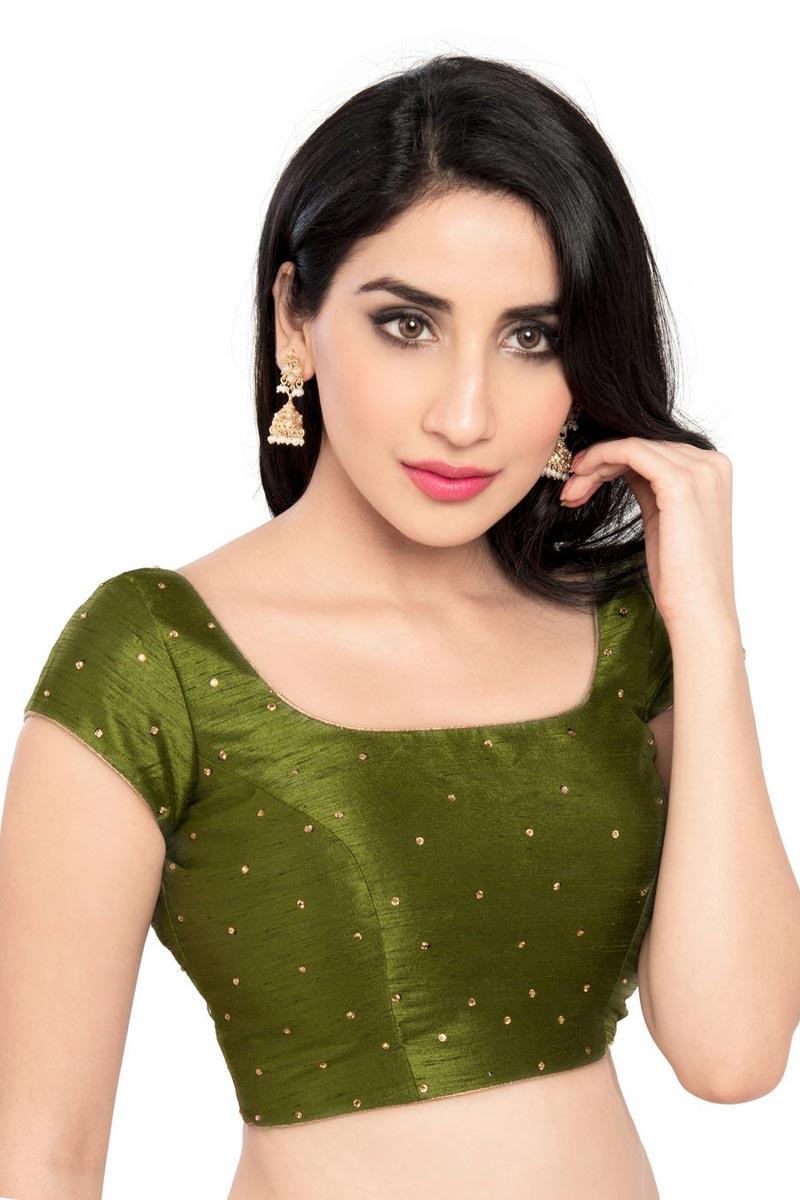 Mehendi Green Color Readymade Plain Blouse In Dupion Silk Fabric