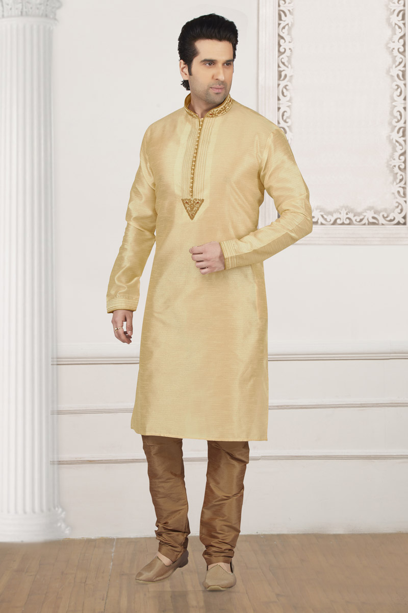Party Wear Cream Kurta Pyjama In Art Silk Fabric For Men