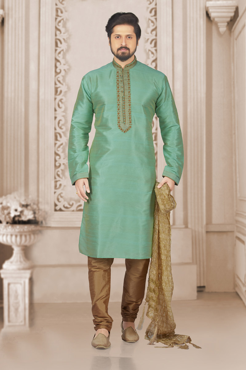 Sea Green Designer Kurta Pyjama For Men In Art Silk Fabric