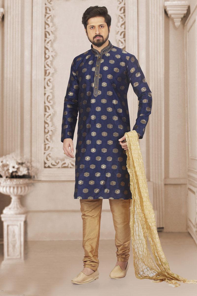 Festive Wear Navy Blue Color Kurta Pyjama In Art Silk Fabric For Men
