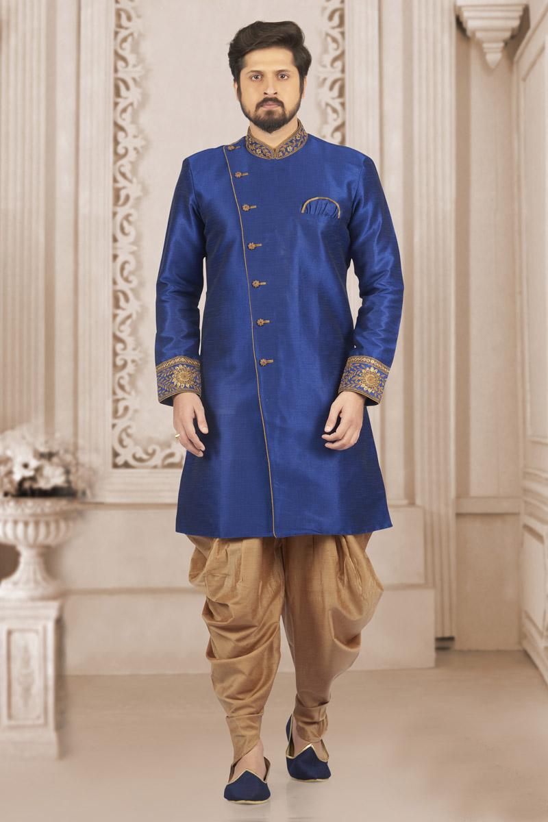 Blue Art Silk Fabric Mens Function Wear Kurta Pyjama