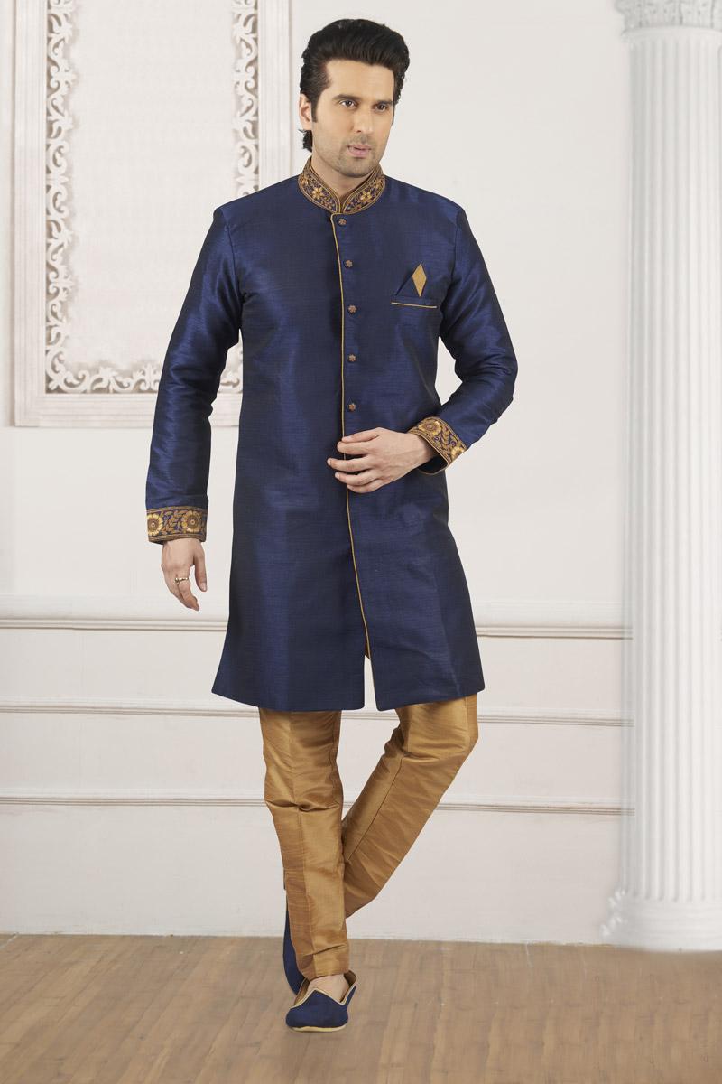 Navy Blue Color Mens Kurta Pyjama In Art Silk Fabric