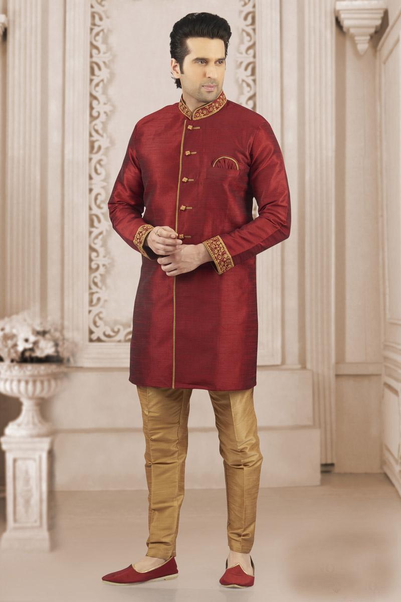 Function Wear Maroon Color Art Silk Fabric Mens Kurta Pyjama