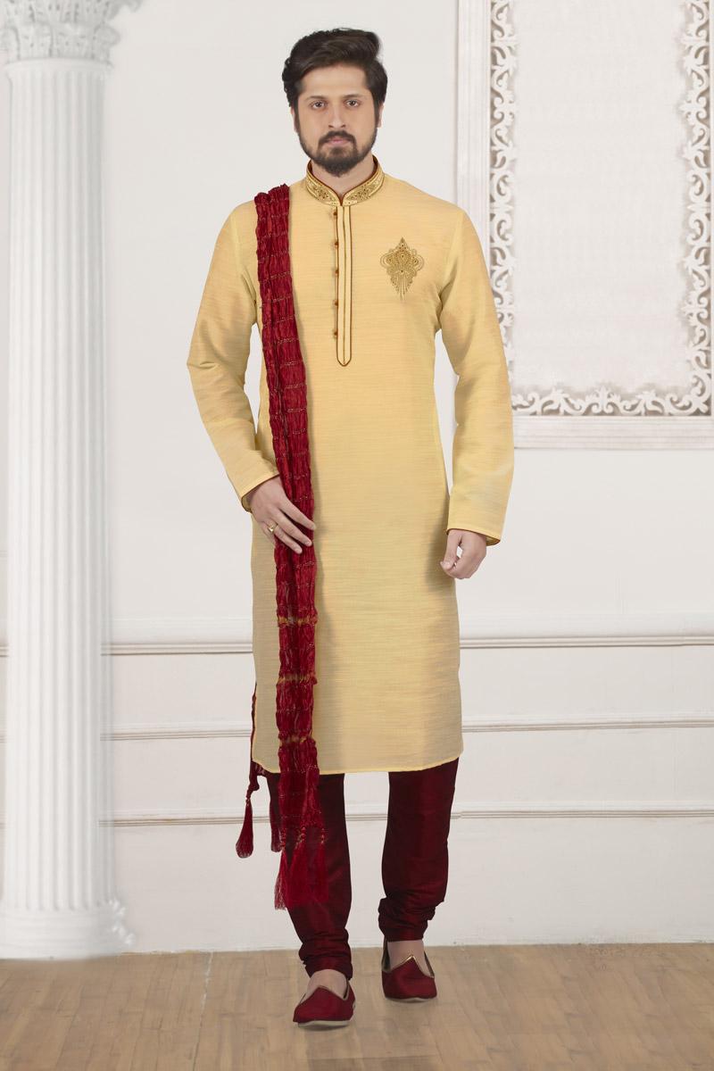 Festive Wear Beige Kurta Pyjama In Banarasi Silk Fabric For Men