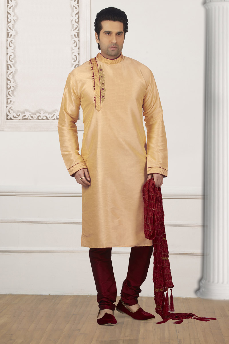 Mens Function Wear Cream Banarasi Silk Fabric Kurta Pyjama