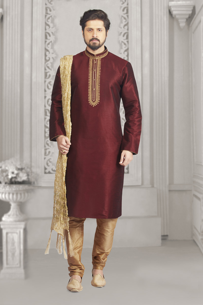 Banarasi Silk Fabric Wine Color Mens Kurta Pyjama