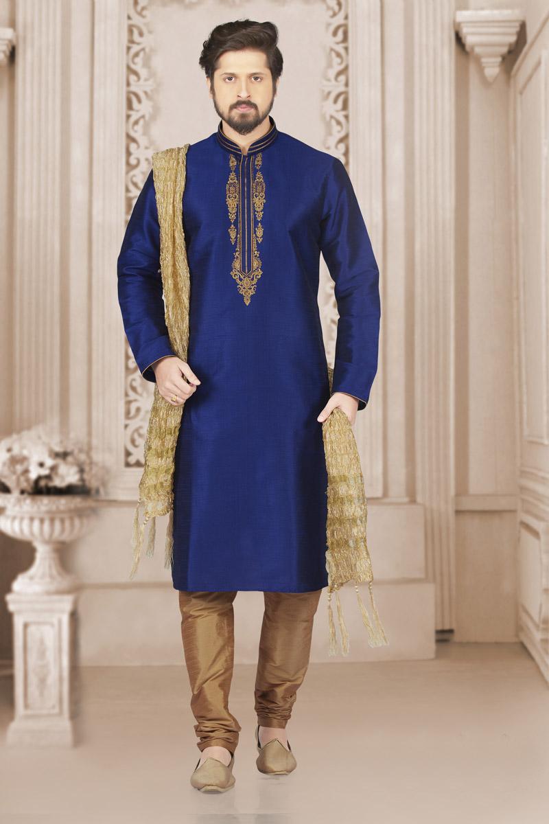 Embroidered Fancy Banarasi Silk Fabric Mens Kurta Pyjama In Blue