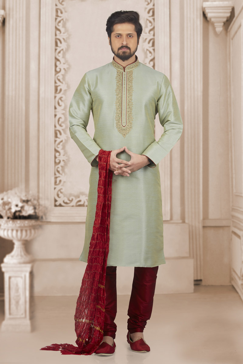 Light Cyan Banarasi Silk Fabric Party Wear Kurta Pyjama For Men