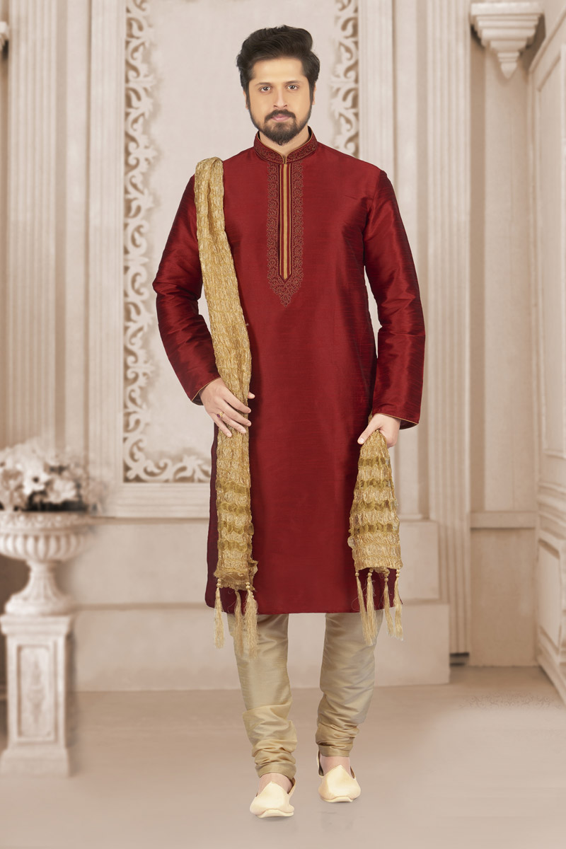 Banarasi Silk Fabric Maroon Occasion Wear Kurta Pyjama For Men