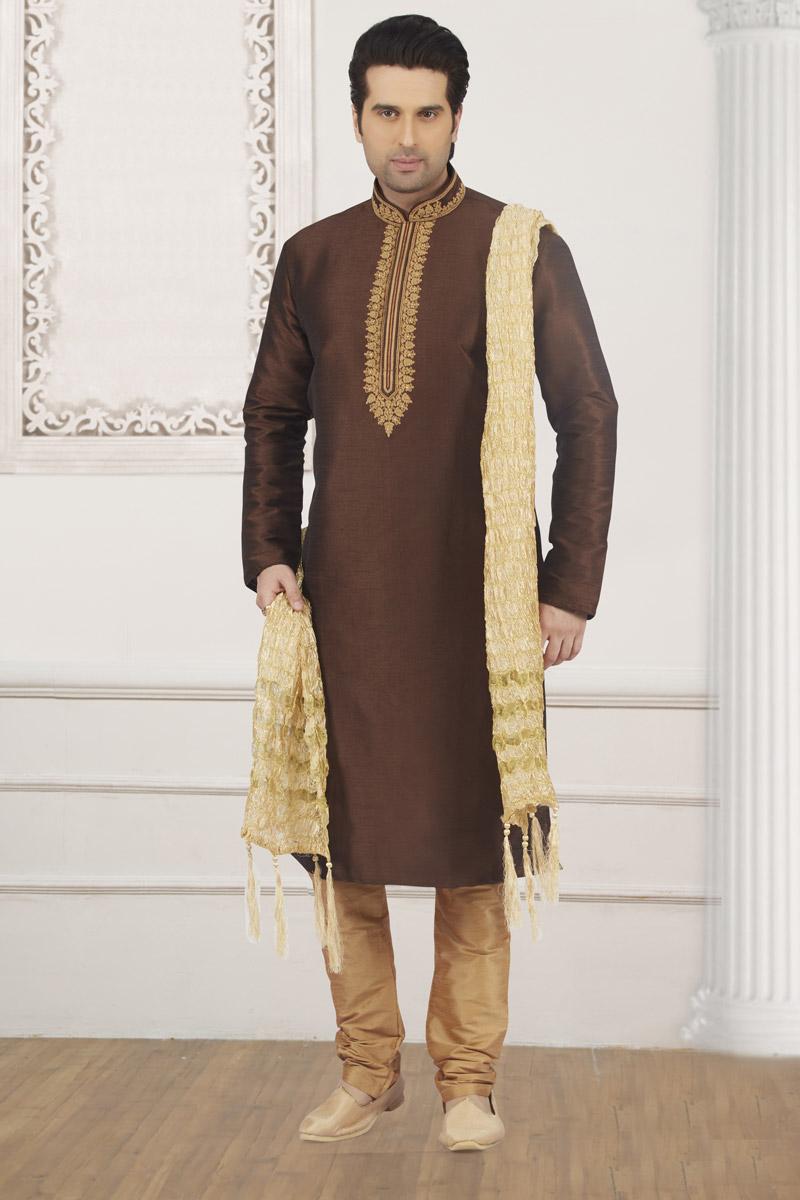 Function Wear Dark Brown Color Mens Kurta Pyjama
