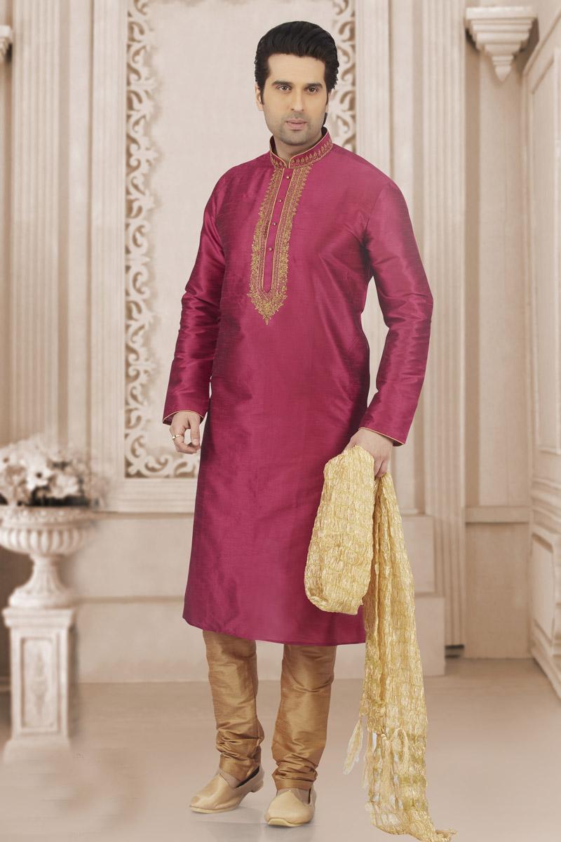 Rani Banarasi Silk Fabric Mens Function Wear Kurta Pyjama