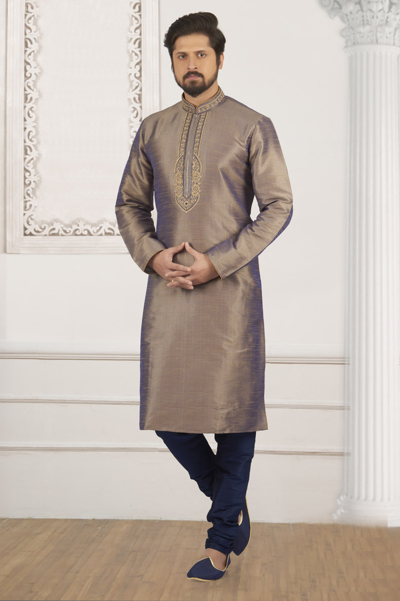 Dark Beige Designer Kurta Pyjama For Men In Banarasi Silk Fabric