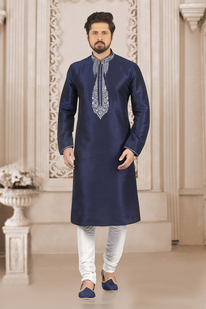 Function Wear Navy Blue Kurta Pyjama In Banarasi Silk Fabric For Men