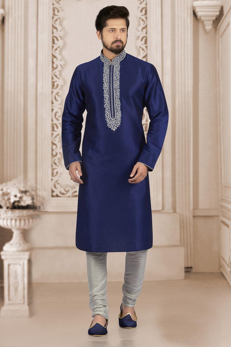 Banarasi Silk Fabric Navy Blue Function Wear Kurta Pyjama For Men