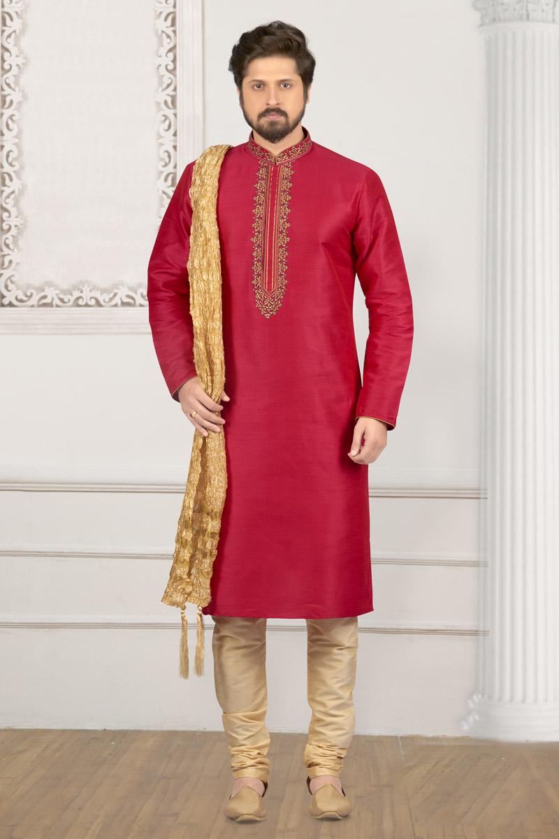 Crimson Banarasi Silk Fabric Festive Wear Kurta Pyjama For Men