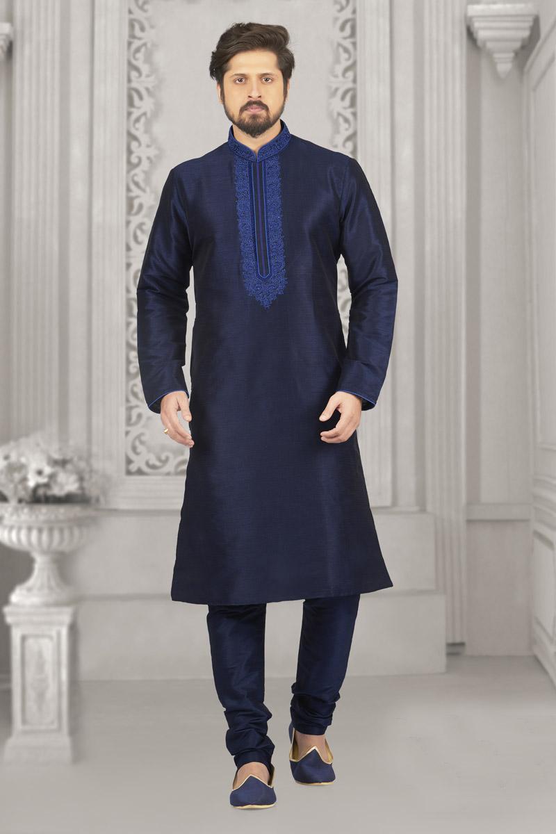 Banarasi Silk Fabric Navy Blue Designer Kurta Pyjama For Men