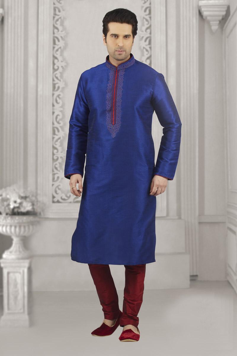 Blue Color Kurta Pyjama In Banarasi Silk Fabric For Men