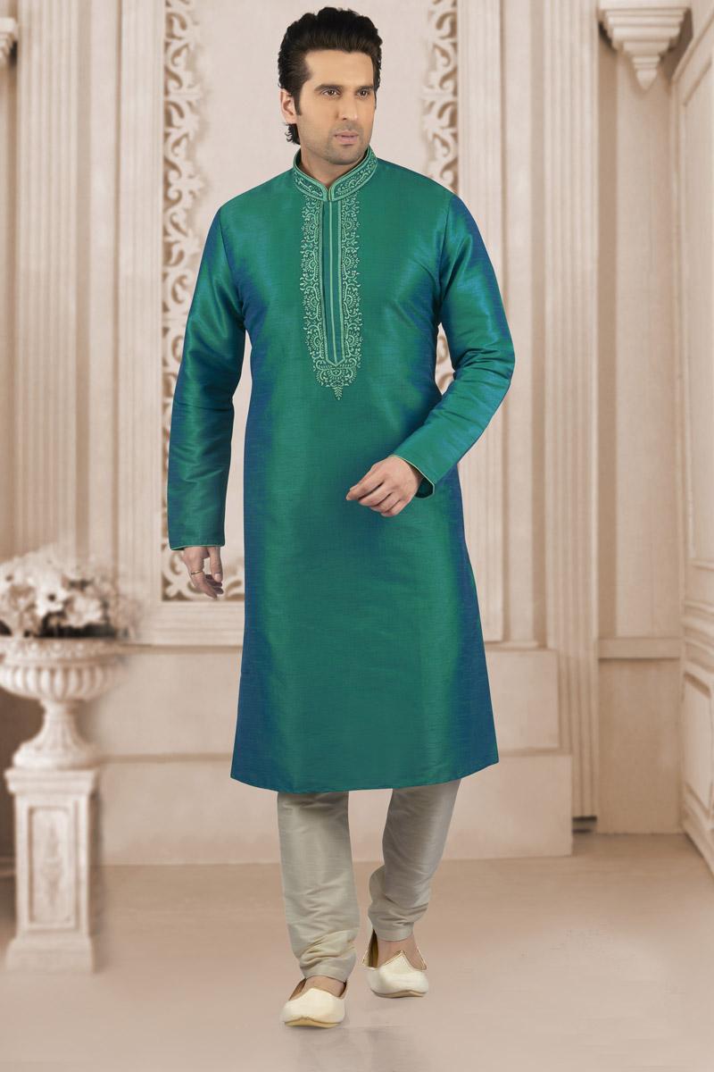 Mens Function Wear Teal Banarasi Silk Fabric Kurta Pyjama