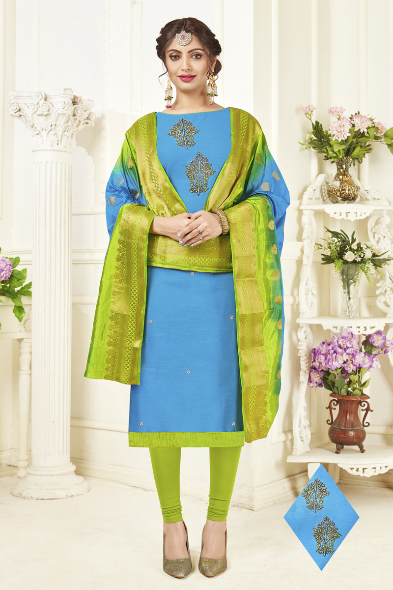 Sky Blue Cotton Fabric Function Wear Hand Work Straight Cut Suit