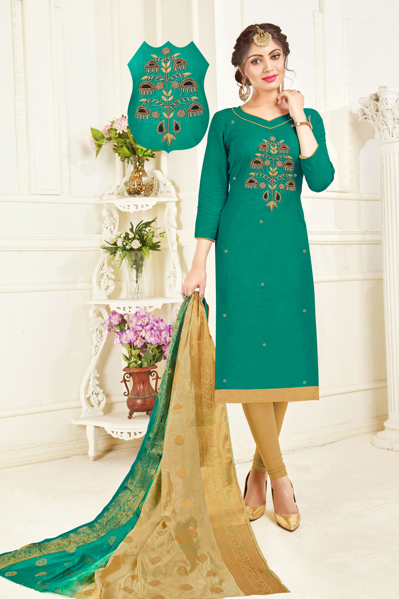 Hand Work Designs On Green Cotton Fabric Function Wear Designer Salwar Suit