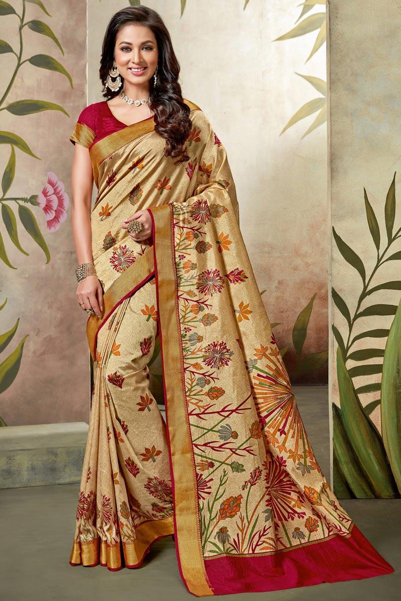 Festive Wear Fancy Art Silk Saree In Beige With Printed Work